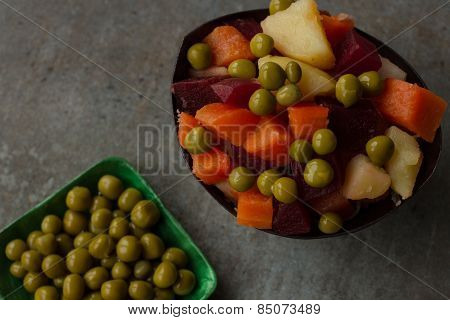 Russian National Salad of vegetables - salad with beets