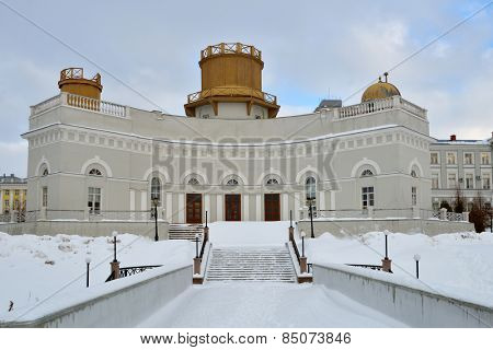 KAZAN, RUSSIA - JANUARY 4, 2015: Building of astronomical observatory of Kazan University in a winter day. Found in 1810, the observatory has 23 cm refractor made in the workshop of Joseph Fraunhofer