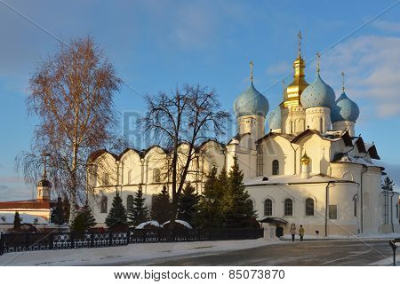 KAZAN, RUSSIA - JANUARY 4, 2015: People under the Annunciation Cathedral of the Kazan Kremlin. Built in 1555-1562, it is federal listed cultural heritage venue