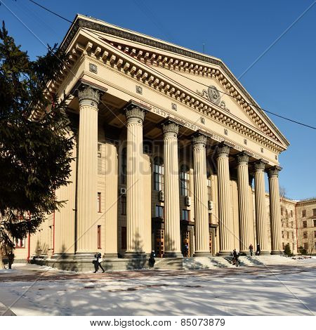 NOVOSIBIRSK, RUSSIA - FEBRUARY 10, 2015: People in front of the Siberian State University of railway engineering. It is one of the leading technical universities of Russia in the transport industry