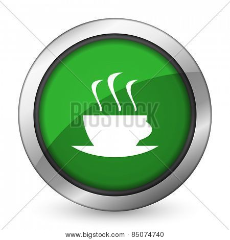 espresso green icon hot cup of caffee sign