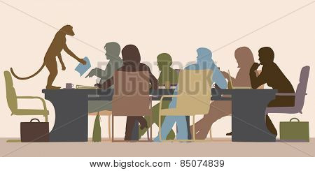 Illustration of a business meeting chaired by a monkey