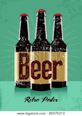 Vintage grunge style poster with a beer bottles. Retro vector illustration