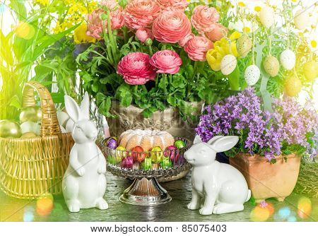 Easter Cake, Spring Flowers, Eggs And Bunny. Light Leaks