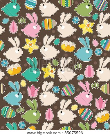 Seamless pattern with easter rabbits,eggs and spring flowers