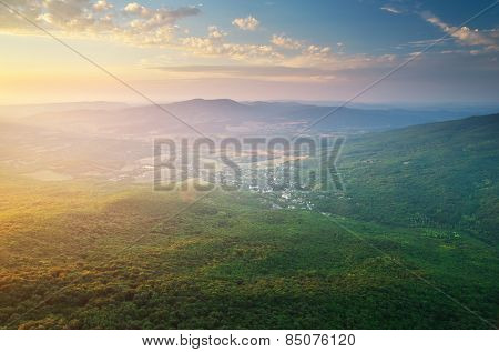 Village in mountain. Nature composition.