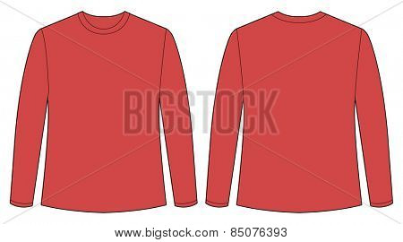 red shirt front and back view