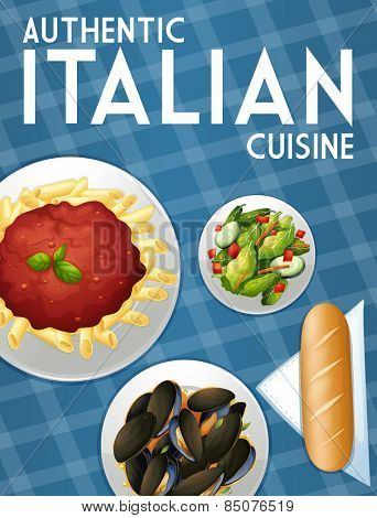 Poster of many dishes of Italian food