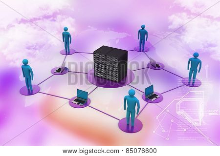 Human with laptop with big server Net Work firewall. 3D Image