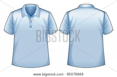 Short sleeves blue shirt with front and back view
