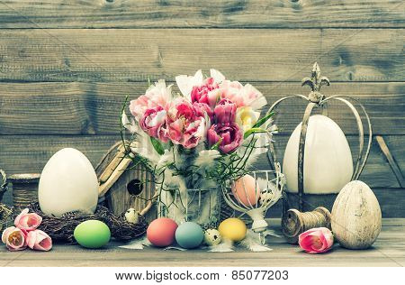 Easter Stil Life. Decoration With Tulip Flowers And Colored Eggs