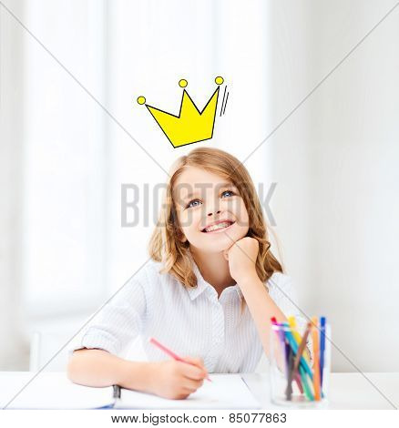 education, creativity, childhood, people and school concept - smiling little school girl drawing and daydreaming at school with crown doodle