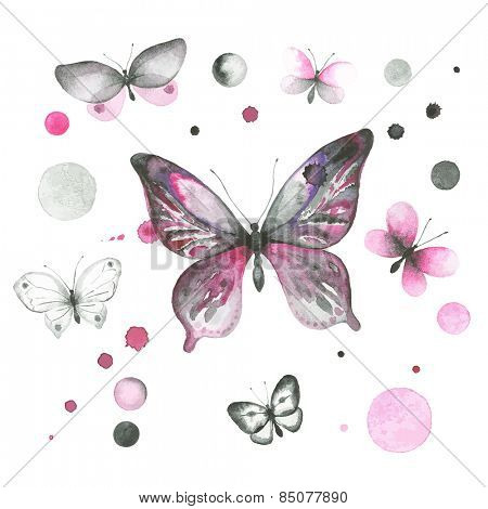 Watercolor collection of butterflies and circles.
