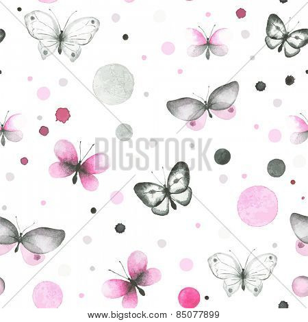 Watercolor seamless pattern with butterflies and circles.