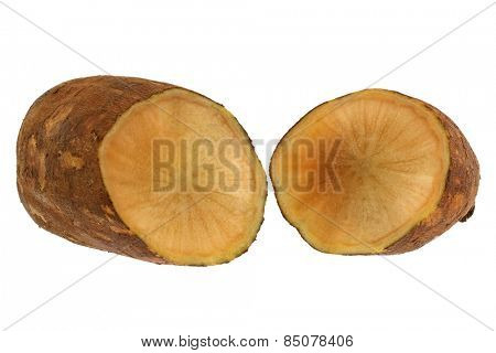 Fresh Yacon (Peruvian ground apple) cut in half, isolated on white