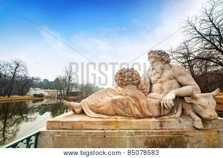Allegory of the Bug River statue in Lazienki Park (Royal Baths Park), Warsaw, Poland