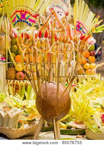 traditional decoration of Ceremony of cremation - Ngaben in Kute Bali Indonesia