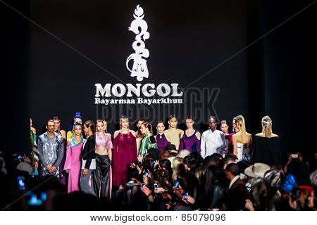 NEW YORK - FEBRUARY 13:  models walks the runway at the Mongol Fall/Winter 2015 collection during Mercedes-Benz Fashion Week in New York on February 13, 2015.