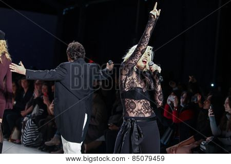 NEW YORK - FEBRUARY 13: A designer Mark Tango and Estel Day walks the runway at the Mark & Estel Fall/Winter 2015 collection during Mercedes-Benz Fashion Week in New York on February 13, 2015.