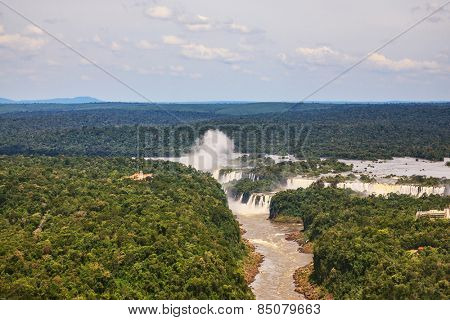 Iguazu Falls in the two national parks - Argentina and Brazil in the dense tropical forests.  Picture taken from a helicopter