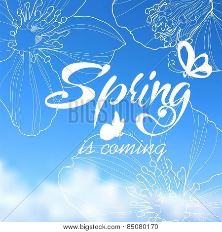 Typographic Design. Lettering Spring design on blurred background with butterflies and cherry blossom or sakura.
