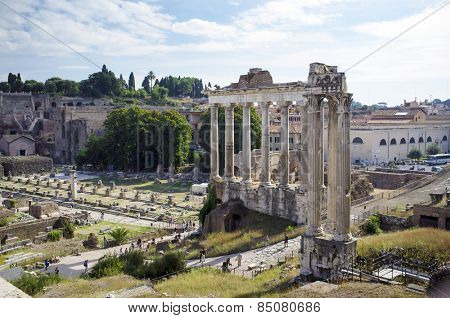 ROME, ITALY - SEPTEMBER 24, 2014: The Roman Forum is a rectangular forum (plaza) surrounded by the ruins of several important ancient government buildings at the center of the city of Rome.