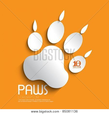 eps10 vector white paw footprint with shadow