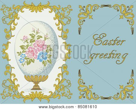 Easter composition with ornate frame and a colored with floral pattern egg on an elegant stand on a blue background. Each object is on separated layer.