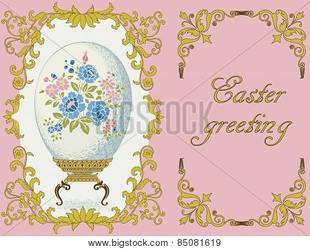 Easter composition with ornate frame and a colored with floral pattern egg on an elegant stand on a pink background. Each object is on separated layer.