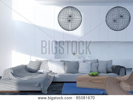 Modern modular corner couch with cushions and a throw rug in a contemporary living room with spherical lattice lampshades and white wall cabinets. 3d Rendering.