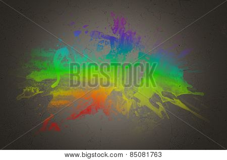 Conceptual Colorful Combination of Assorted Paints on an Abstract Gray Gradient Background