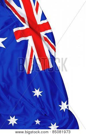 Australian waving flag on white background