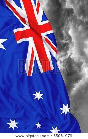 Australian waving flag on a bad day