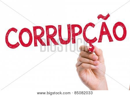 Corruption (Corrupcao in Portuguese) written on the wipe board