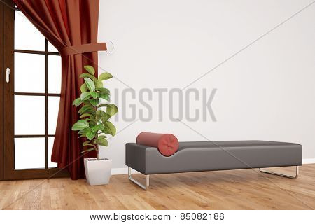 Modern couch in psychotherapy clinic in front of a wall with curtains (3D Rendering)