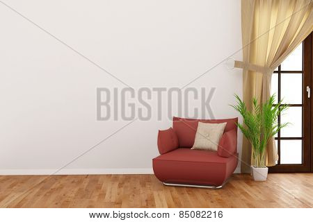 Empty wall in a living room with armchair and betal palm (3D Rendering)