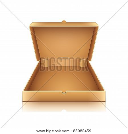 Blank Cardboard Pizza Box Isolated On White Vector