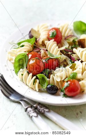 Rustic Pasta with Roasted Vegetables and Olives