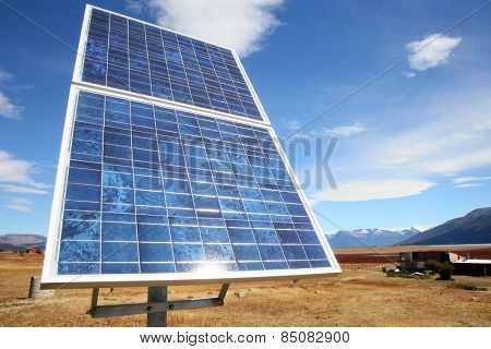 Solar panel set in Patagonian steppe