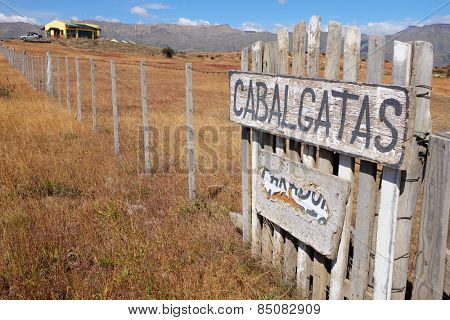 Horseride sign in Patagonian farmland