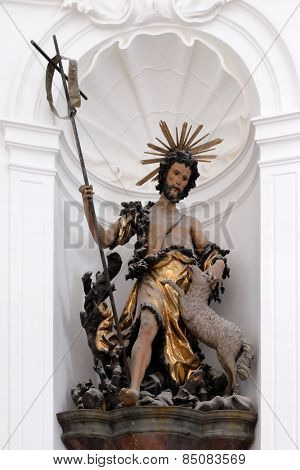 SALZBURG, AUSTRIA - DECEMBER 13: Saint John the Baptist, Altar in Collegiate church in Salzburg on December 13, 2014.