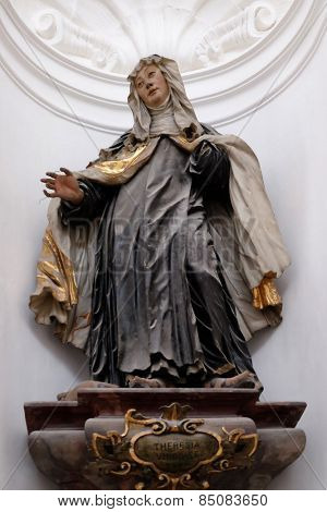 SALZBURG, AUSTRIA - DECEMBER 13: Saint Teresa, Altar in Collegiate church in Salzburg on December 13, 2014.