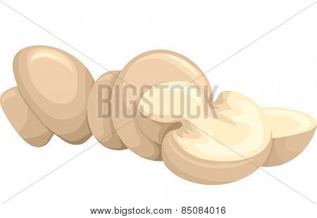 Illustration of a Group of Untouched Button Mushrooms Resting Side by Side WIth Sliced Ones