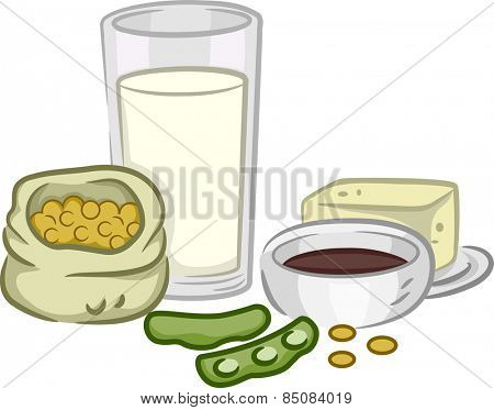 Illustration of a Group of Soya Beans and Products