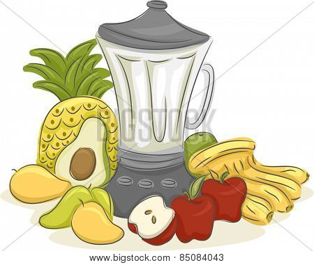 Illustration of an Electric Blender Surrounded by Different Fruits