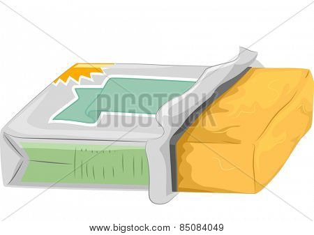 Illustration of a Partially Opened Tub of Butter
