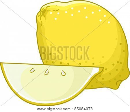 Illustration of an Untouched Lemon Sitting Side by Side With a Sliced One