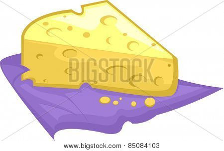 Illustration of a Slice of Swiss Cheese Resting on a Purple Cloth