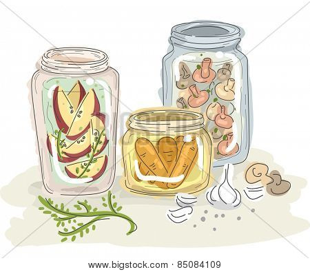 Sketchy Illustration of Fruits and Vegetables Preserved in Jars