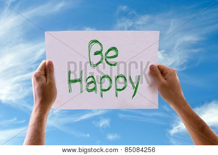 Be Happy card with sky background